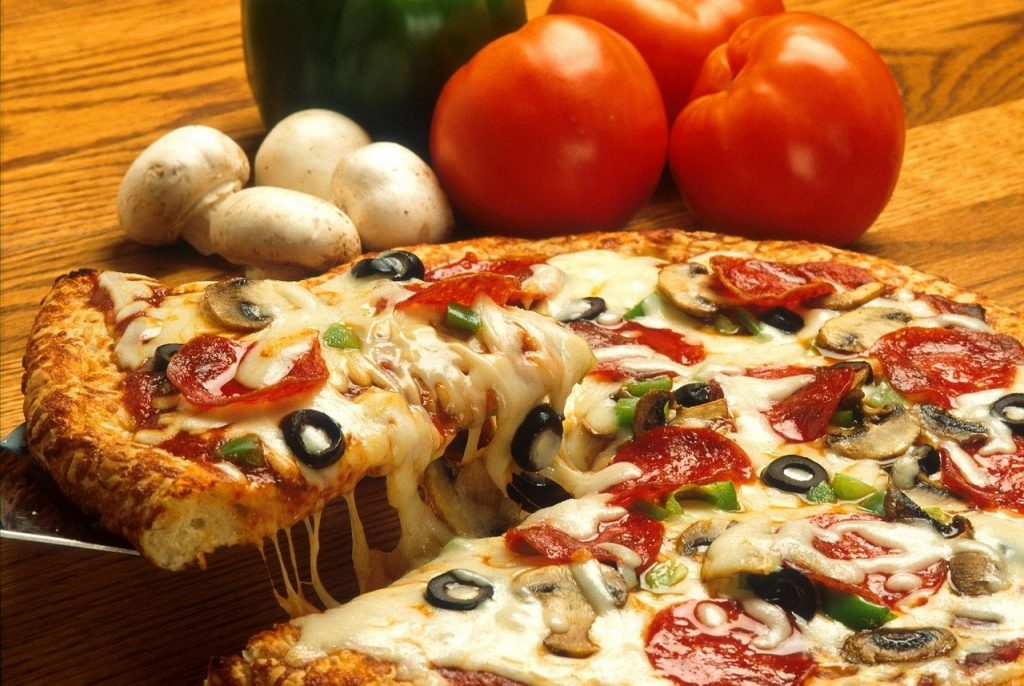 pizza, drink, food